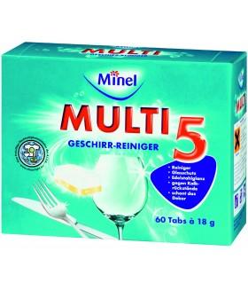 MINEL Чистящее ср-во для посуды (таблетки) для п/м 5 в 1 (60 шт)